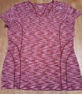 Reebok, active wear shirt, marron striped, size XL